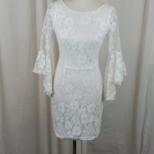 LULUS White Lace Bell Sleeve Dress